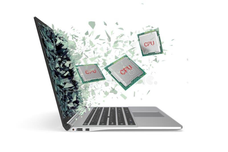 CPU flyger ut från bärbara datorn som slår exponeringsglaset in i stycken illustration 3d royaltyfria foton