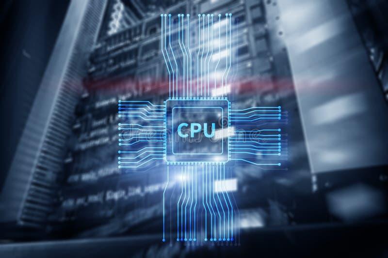 CPU futurista que brilla intensamente azul en el centro del sistema informático ilustración del vector