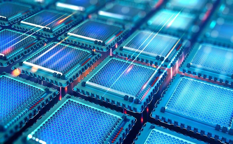 CPU futuristico Unit? di elaborazione di Quantum nella rete di computer globale illustrazione di stock