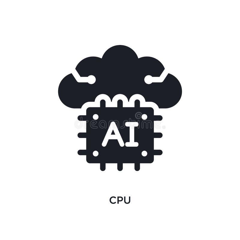 cpu geïsoleerd pictogram eenvoudige elementenillustratie van de pictogrammen van het kunstmatige intelligentieconcept van het het stock illustratie