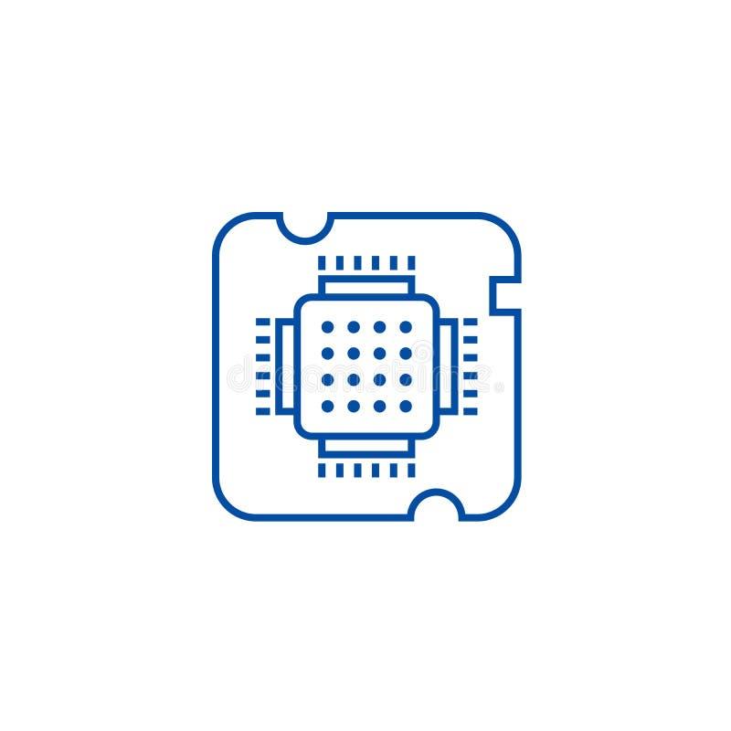 CPU-hålighet, chiplinje symbolsbegrepp CPU-hålighet, plant vektorsymbol för chip, tecken, översiktsillustration royaltyfri illustrationer