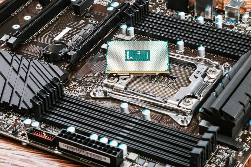 CPU-hålighet och processor arkivbild