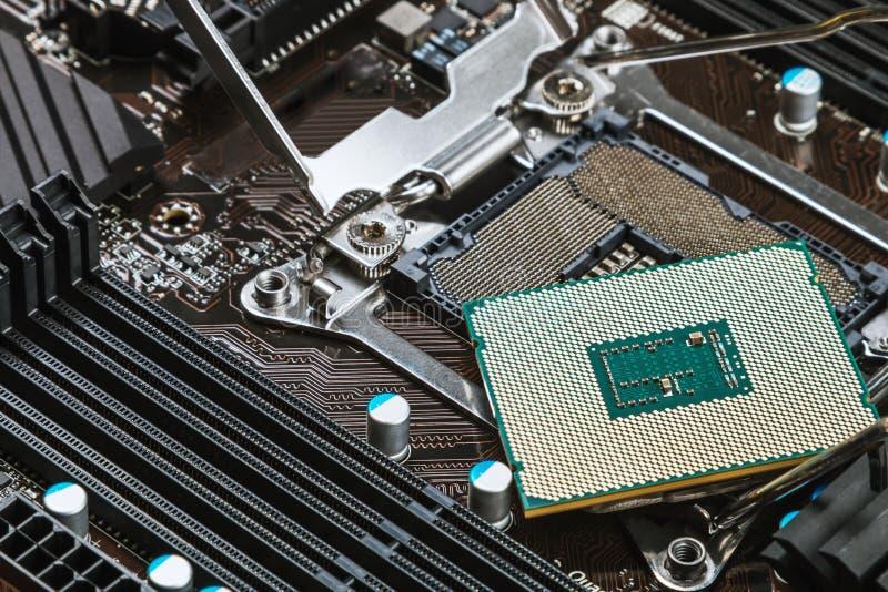 CPU-hålighet och processor på moderkortet fotografering för bildbyråer