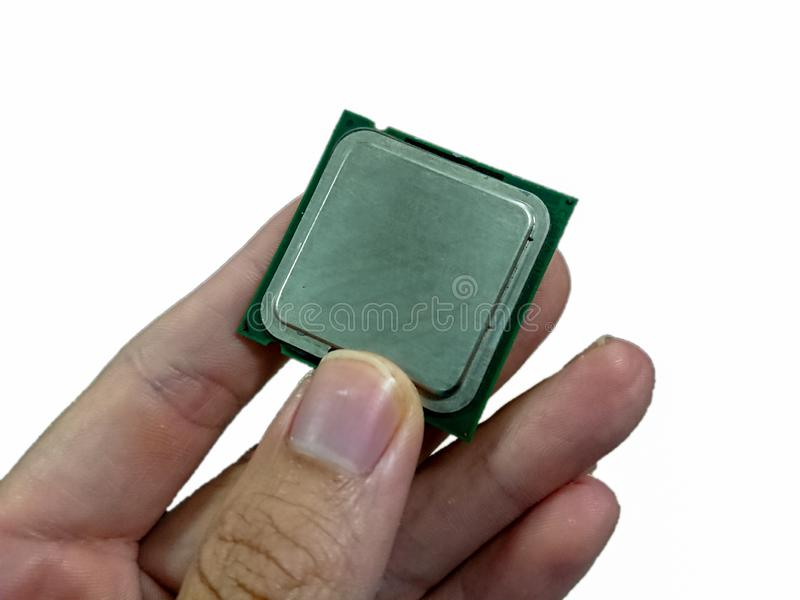 CPU an Hand lizenzfreie stockfotografie