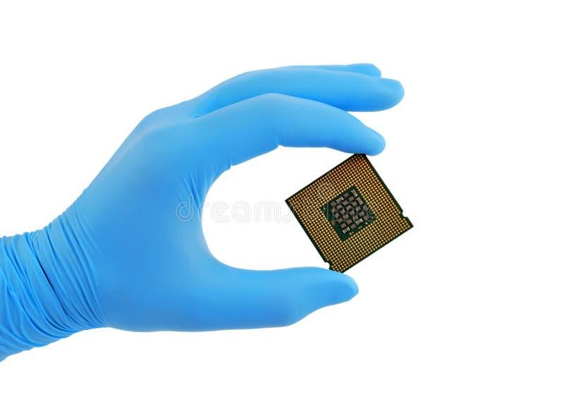 CPU-hand royaltyfria bilder