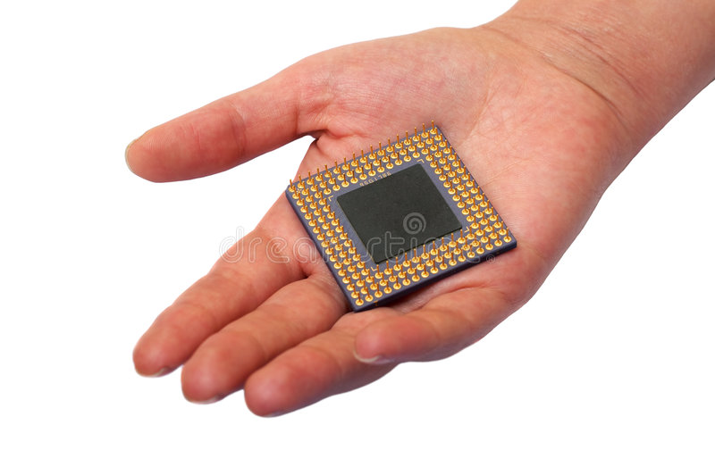 Download CPU in a hand stock photo. Image of electronic, microprocessor - 4442270