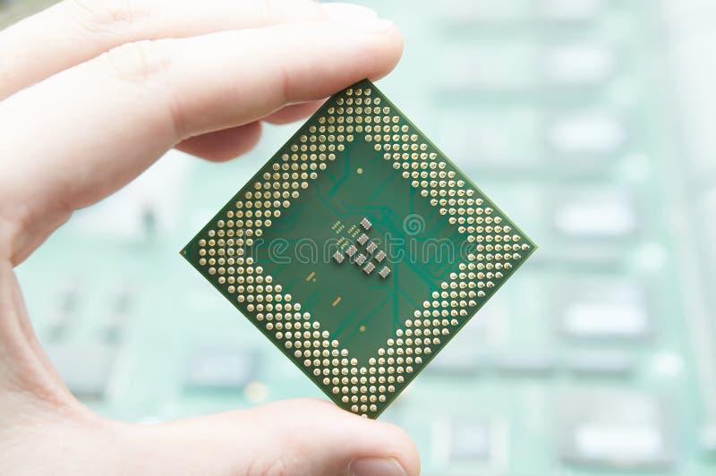 CPU i hand arkivbilder