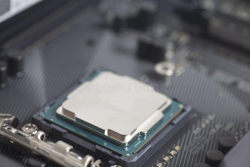 CPU in incavo Intel LGA 1151 sul PC del computer della scheda madre fotografia stock libera da diritti