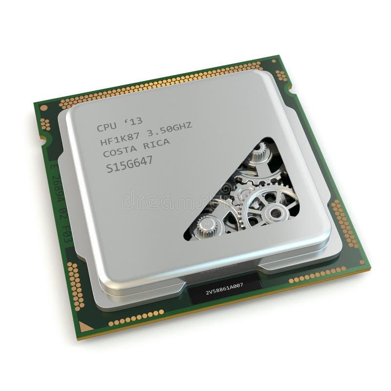 CPU. Ingranaggi dentro l'unità di elaborazione su fondo bianco. royalty illustrazione gratis