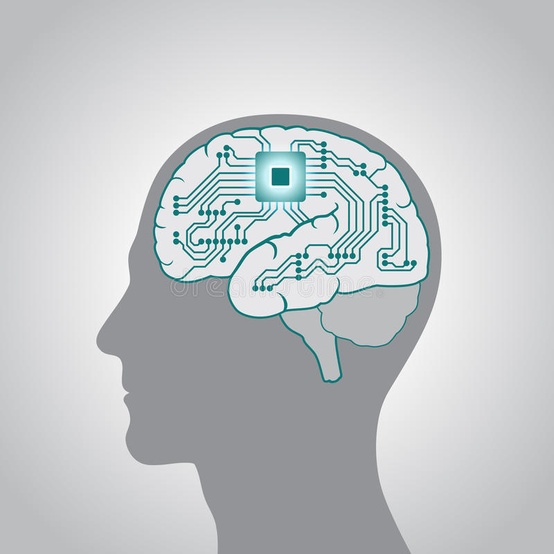 The CPU is installed in the brain, replacing, recovery the mind, consciousness, memory vector illustration