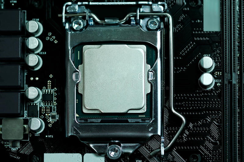 CPU installed on a motherboard royalty free stock photos