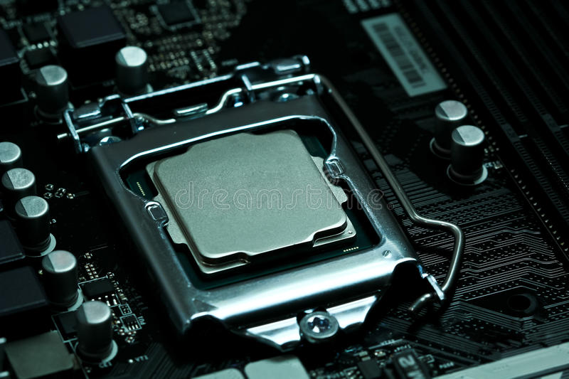 CPU installed on a motherboard royalty free stock images