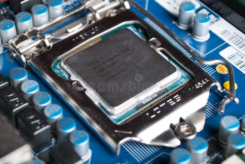 CPU Intel i5 on computer motherboard in socket stock images