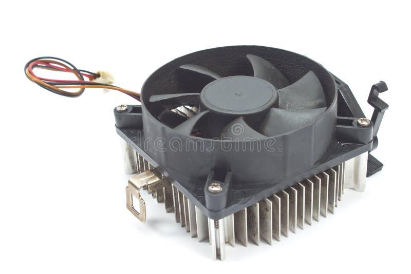 CPU-kylare med kylflänsen som isoleras på vit arkivbild