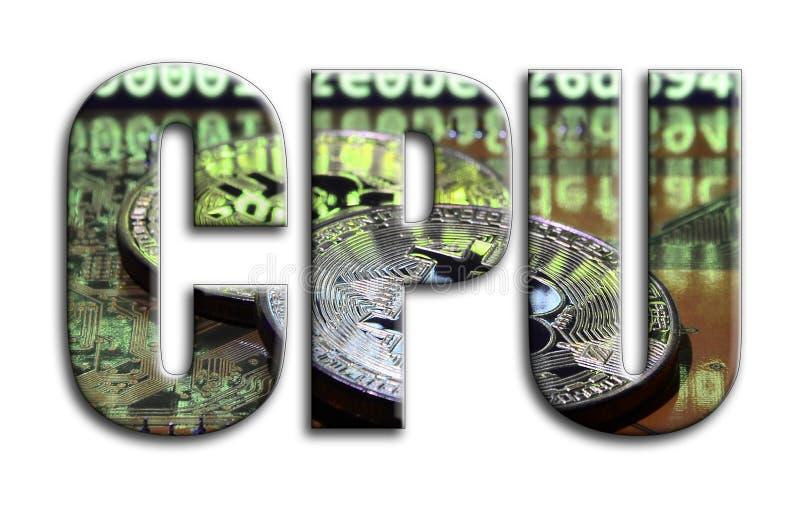 CPU La inscripción tiene una textura de la fotografía, que representa varios bitcoins en un videocard del acelerador de gráficos libre illustration