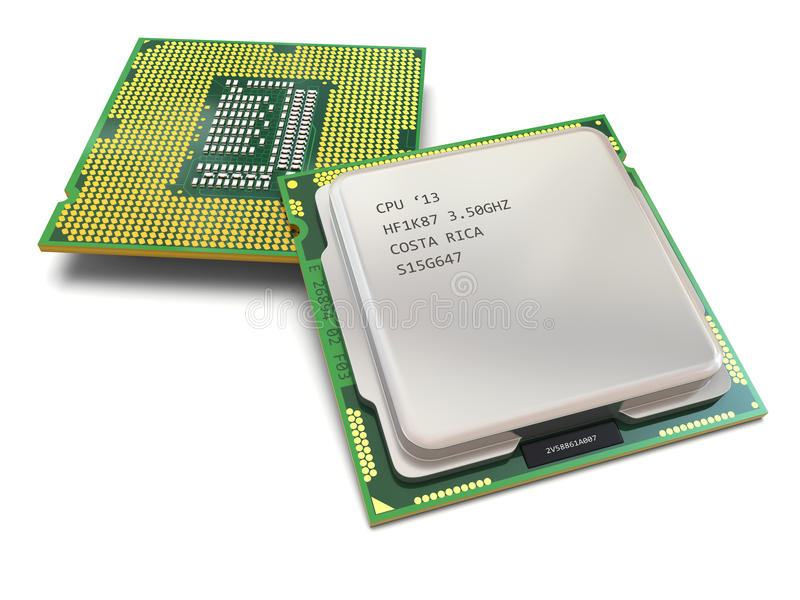CPU. Los procesadores del ordenador ilustración del vector