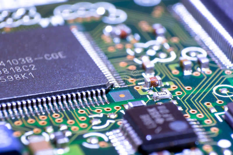 Cpu on mainboard. Electronic circuit board. Macro photo royalty free stock images