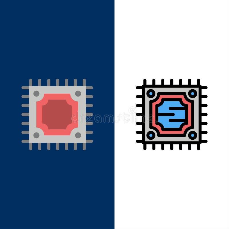 CPU, microchip, iconos del procesador El plano y la línea icono llenado fijaron el fondo azul del vector stock de ilustración