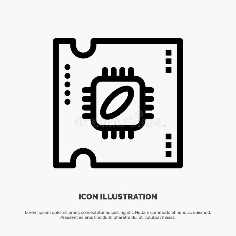 CPU, microchip, procesador, procesador Chip Line Icon Vector libre illustration