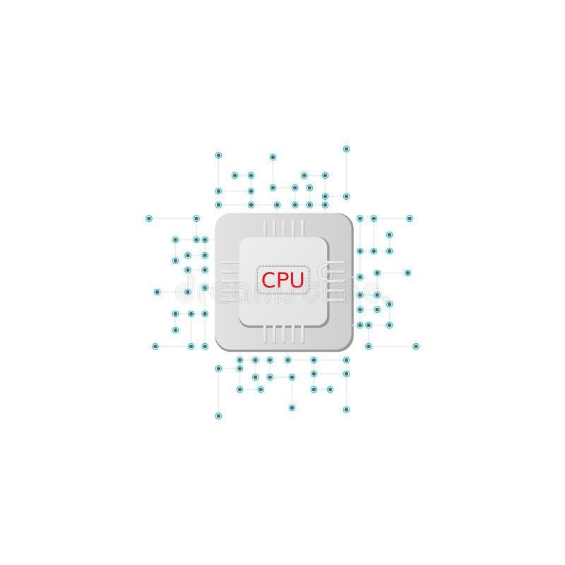 Cpu microchip processor icon royalty free illustration