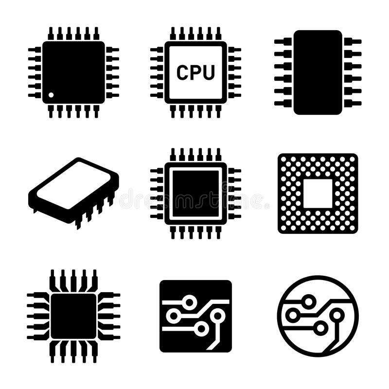 CPU Microprocessor and Chips Icons Set. Vector royalty free illustration