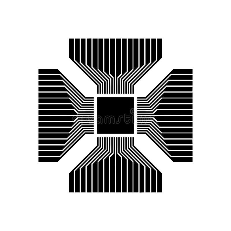 Cpu, Microprocessor, Microchip, Kringsraad Vlak pictogram Eenvoudig zwart symbool op witte achtergrond Vector illustratie vector illustratie