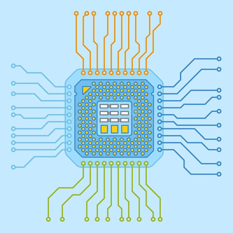 CPU-Mikroprozessor Mädchenlesezeitschrift auf dem sandigen Strand lizenzfreie abbildung