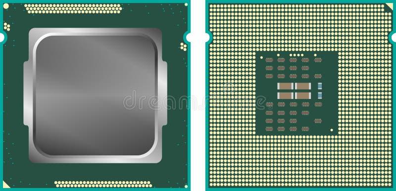 CPU moderno dell'unità di elaborazione del centro del computer, parte anteriore e fronte posteriore, isolati su fondo bianco illustrazione di stock