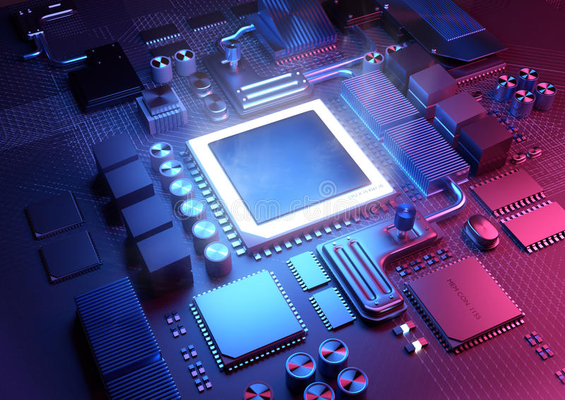 CPU and Motherboard Background. Technology background. A glowing CPU on a motherboard. 3D illustration render royalty free illustration