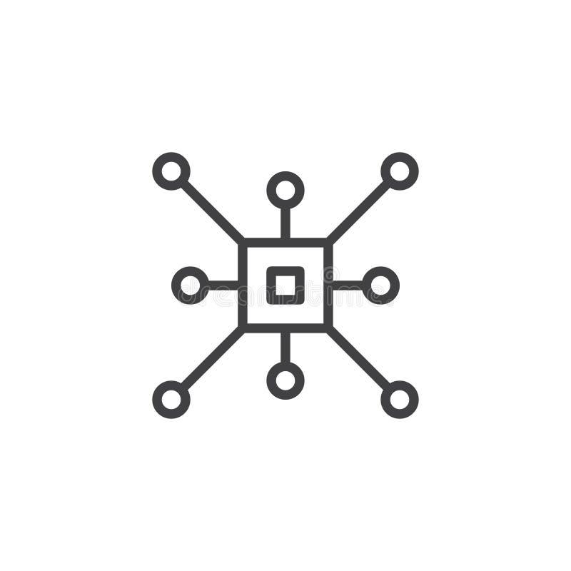 CPU outline icon stock illustration