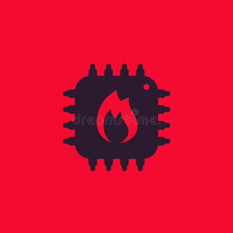 CPU overheat icon stock illustration