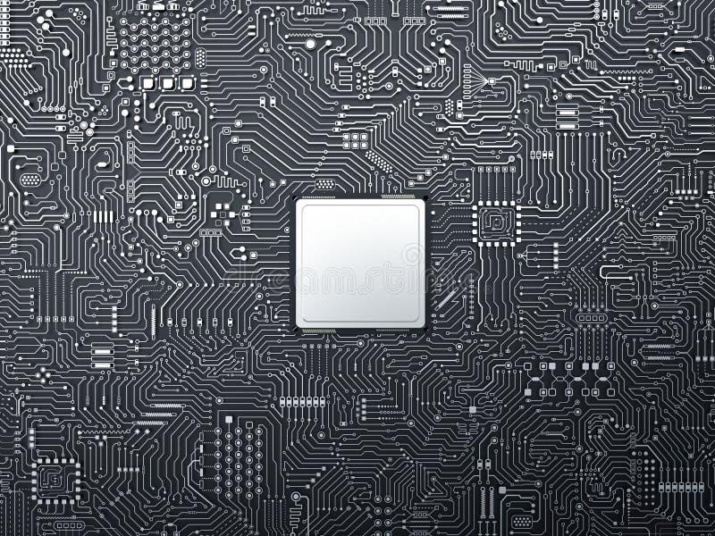 CPU på strömkretsbräde royaltyfri bild