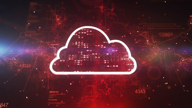 CPU púrpura cibernética de la nube que brilla ilustración del vector