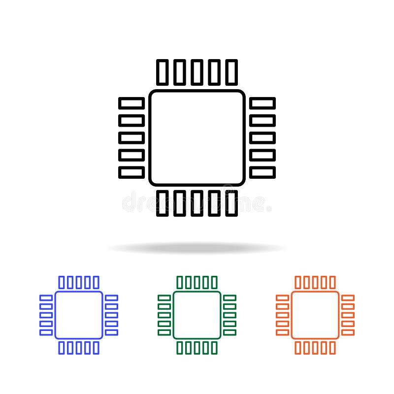 Cpu-Pictogram Elementen van eenvoudig Webpictogram in multikleur Grafisch het ontwerppictogram van de premiekwaliteit Eenvoudig p vector illustratie