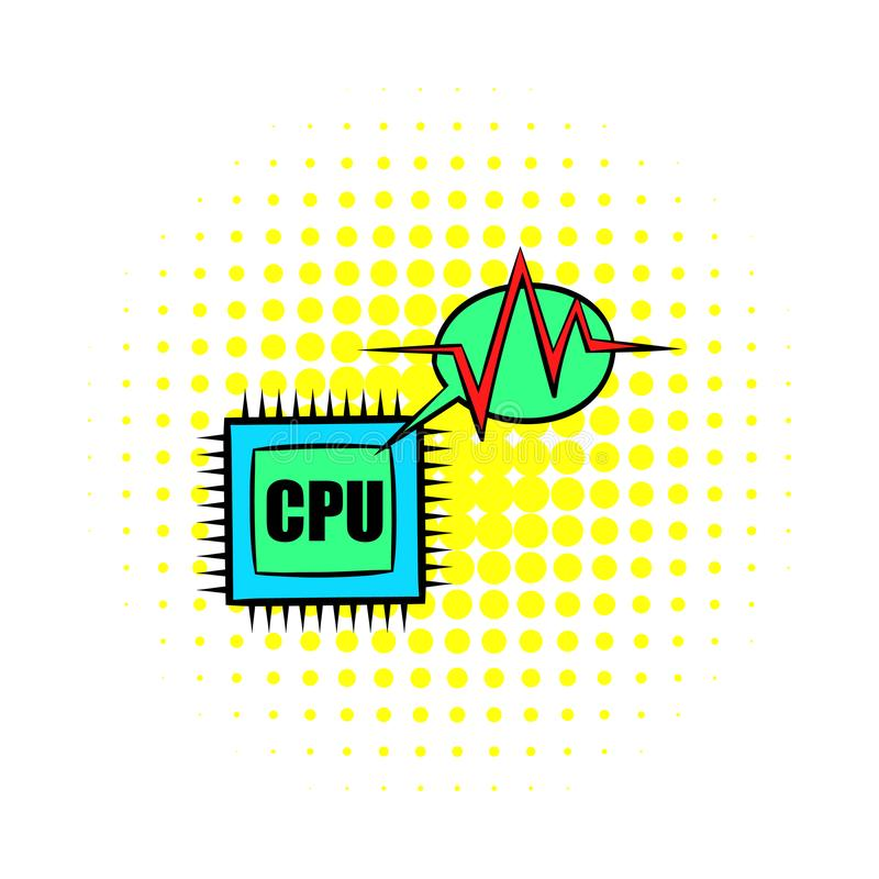 Cpu-pictogram in strippaginastijl stock illustratie