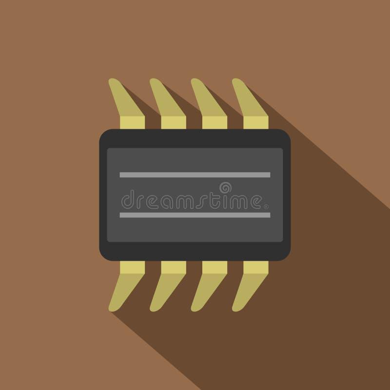 Cpu-pictogram, vlakke stijl vector illustratie