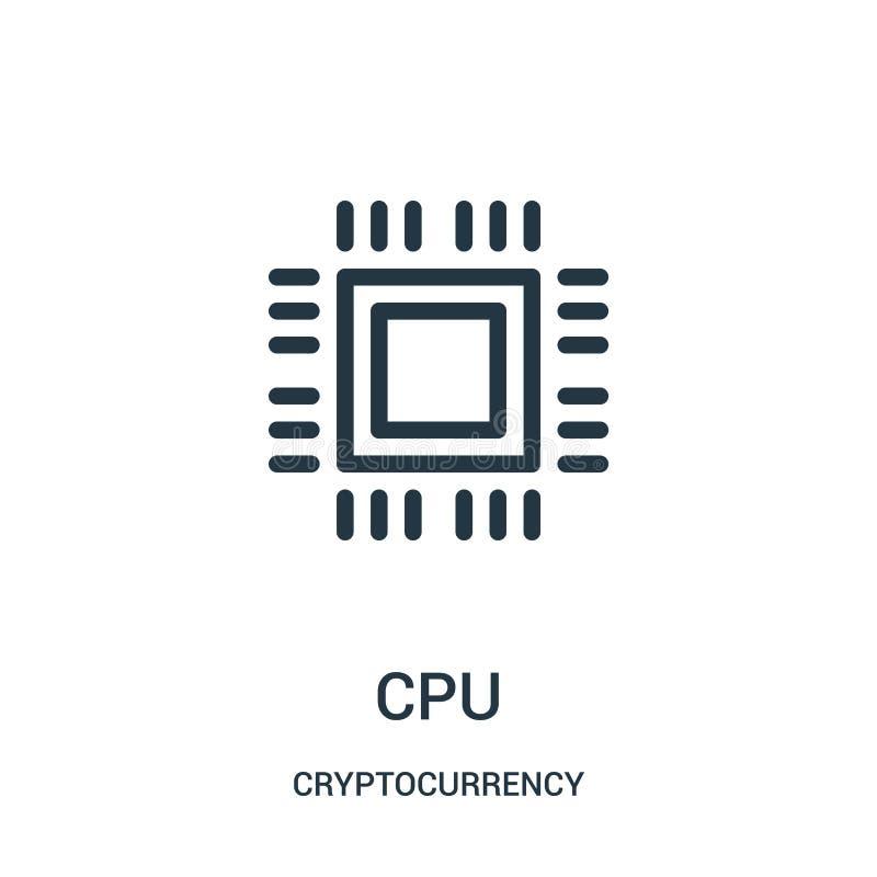 cpu-pictogramvector van cryptocurrencyinzameling Dunne het pictogram vectorillustratie van het lijncpu overzicht royalty-vrije illustratie