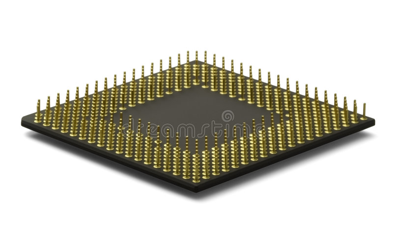 CPU Processor. A computer processor laying flat and isolated on a white background stock photos