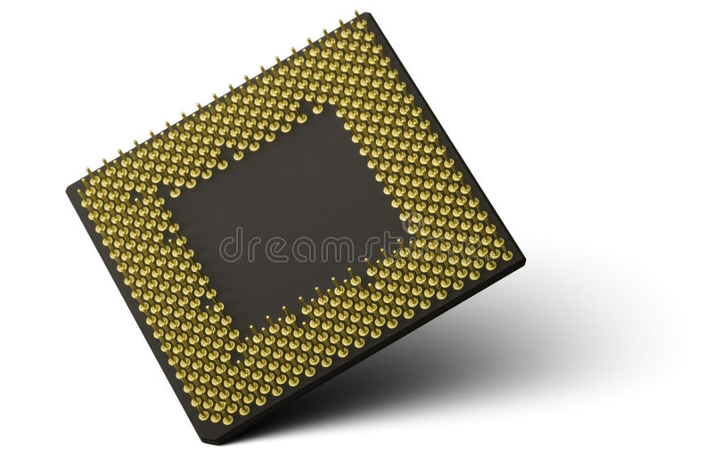 CPU Processor. A computer processor balancing on one corner and isolated on a white background royalty free stock photography