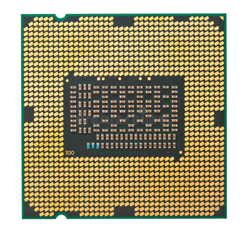 Cpu processor. Isolated on white stock photography