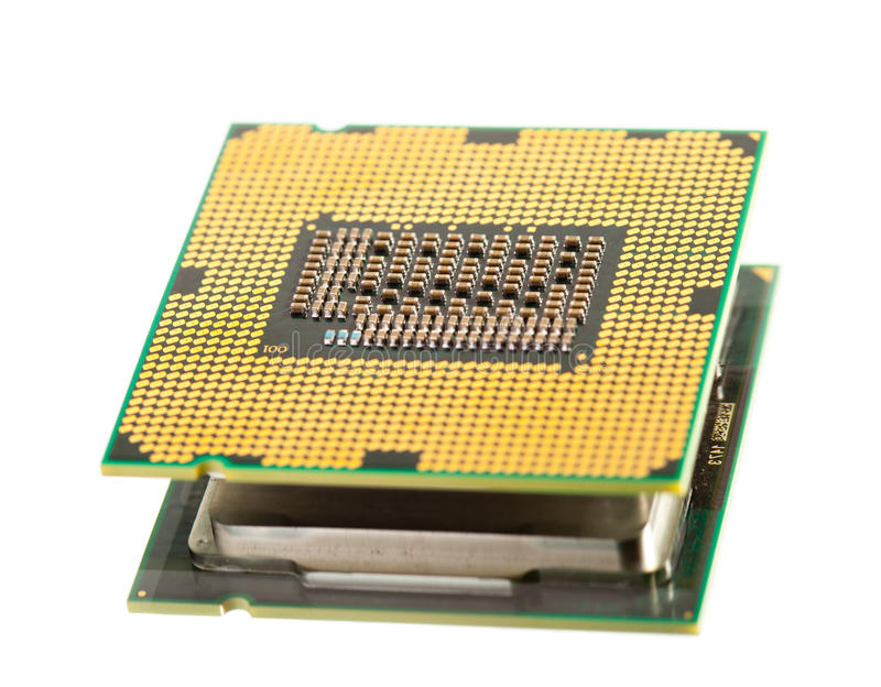 Cpu processor. Isolated on white royalty free stock photography