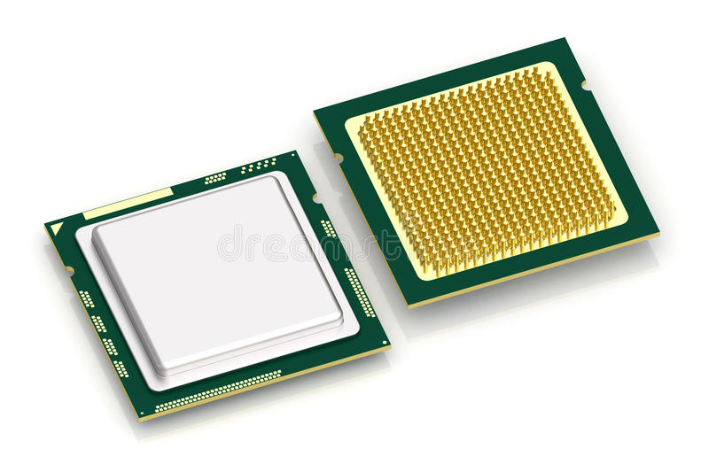 CPU processor on white. Top and bottom view of CPU processor on white background. High resolution 3D image royalty free illustration