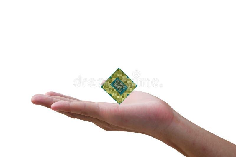 CPU-Prozessor an Hand ein Mann stockbild