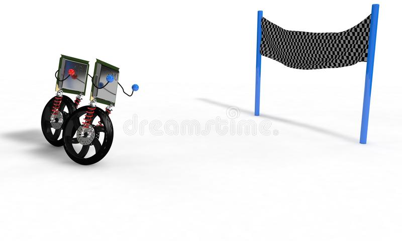 Cpu race concept on the white, 3d render royalty free illustration