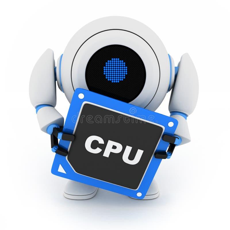 CPU-robot stock illustrationer