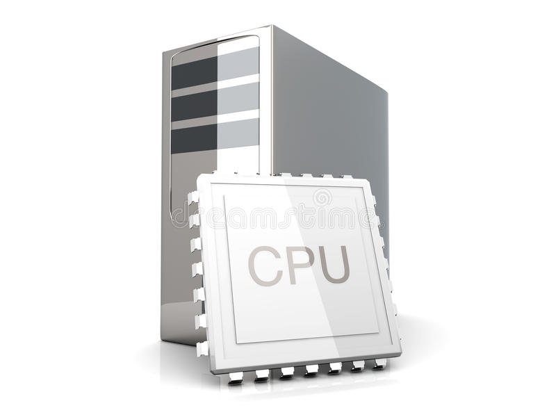 CPU-skrivbord stock illustrationer