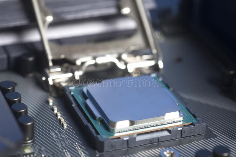 CPU in socket Intel LGA 1151 on motherboard Computer PC. Close up royalty free stock photography
