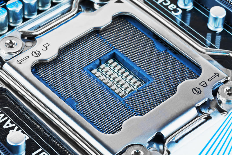 CPU socket on motherboard. Macro view of CPU socket on PC computer motherboard royalty free stock photo