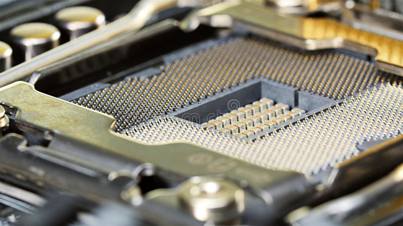 CPU socket of server mainboard, macro royalty free stock images
