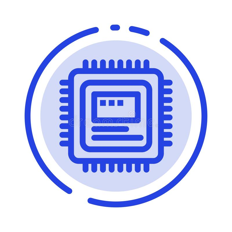 Cpu, Storage, Computer, Hardware Blue Dotted Line Line Icon vector illustration